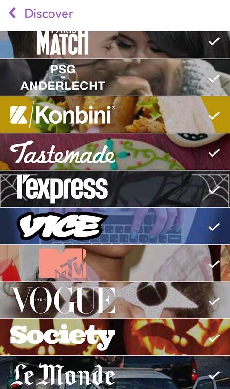 Menu Discover Snapchat