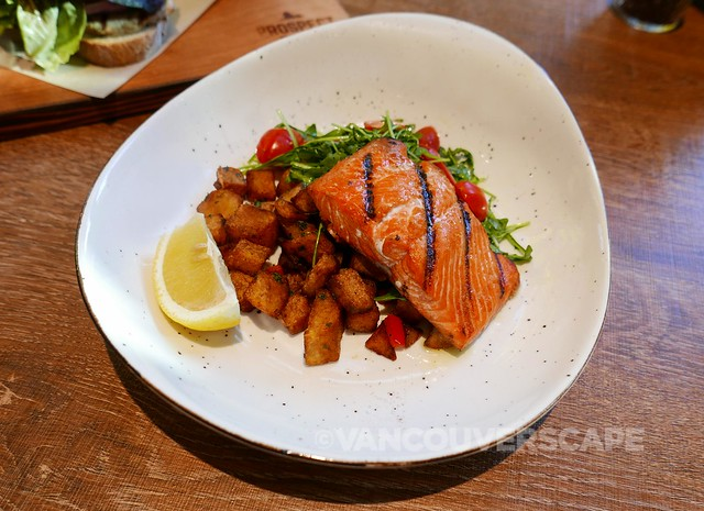 Grilled salmon, roasted potato hash