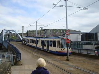 A Sheffield tram in blue & cream livery