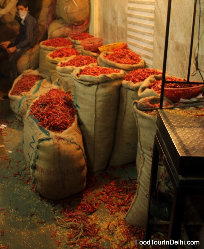 Bags of chili in spice market