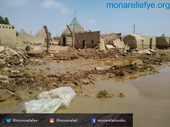 100 families in al-Luhia area of Hodeidah receiving food aid packages after heavy rainfall hit the area there