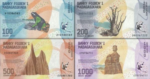 Sada 100-1000 Ariary Madagaskar 2017, P97-100