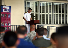 Rear Adm. Matthew Carter delivers remarks during the Hawaii-Pacific Area CFC kick off ceremony. (U.S. Navy/MC1 Phillip Pavlovich)
