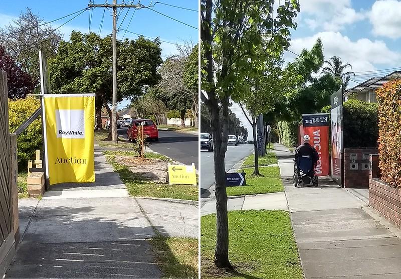 Real estate advertising blocking footpath