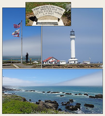 Point Arena Lighthouse, California,and the coast near the lighthouse.