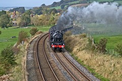 LMS Jubilee Class 6P 4-6-0 No 45690 Leander in charge of The Cumbrian Mountain Express approaching Langwathby on Settle Carlisle Line 14th Oct 2017