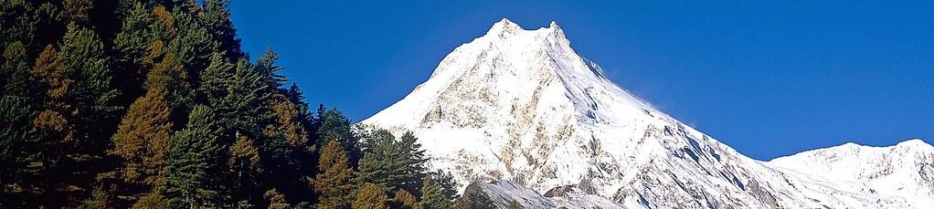Expedition Manaslu. Der Manaslu. 8163 m, aus dem Buri Gandaki/Anmarsch. Foto: Archiv Härter.