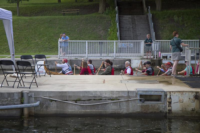 Lift Lock Dinner - guests arrive by Voyageur canoe