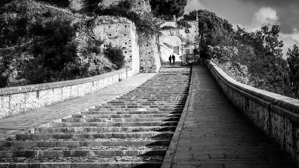 The stairs - Paola, Italy - Black and white street photography