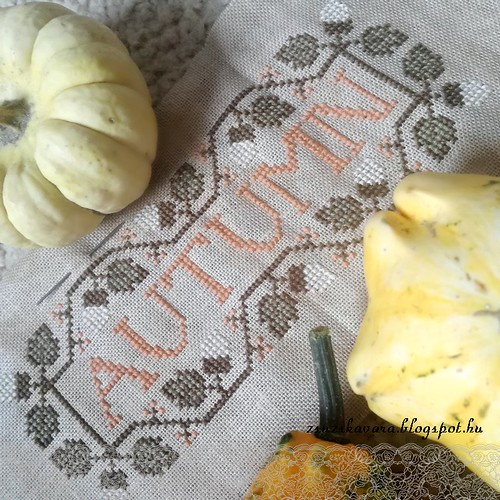 cross stitch, autumn, tina woltman, early working