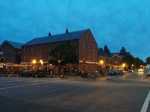 Merchantman Pub by twilight #pei #princeedwardisland #charlottetown #merchantmanpub #queenstreet #waterstreet #lights #blue #latergram