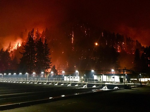 Eagle Creek Fire burned through the night on September 4, 2017