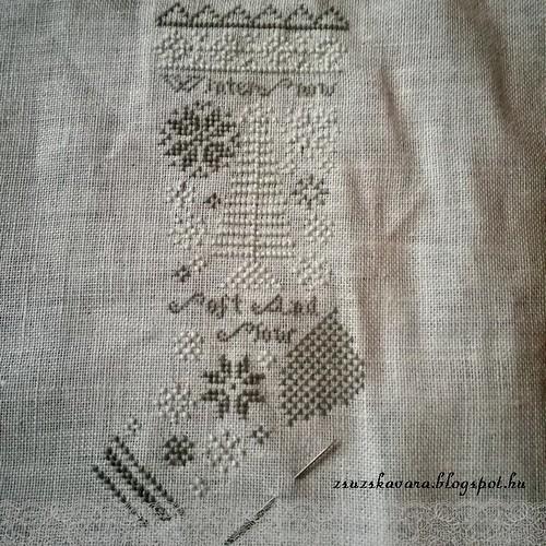 cross stitch, heartstring samplery, winter, stocking