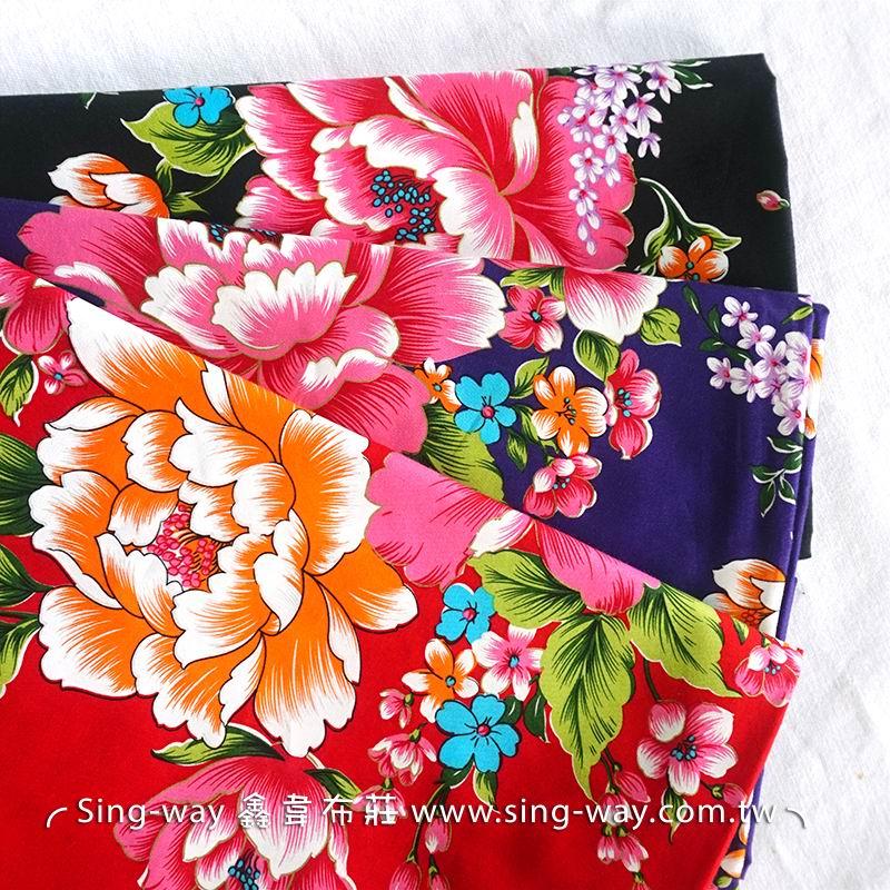 大花 富貴牡丹花 復古懷舊花卉 客家花布 台灣花布 精梳棉床品床單布料 節慶佈置 紅包袋CA540032