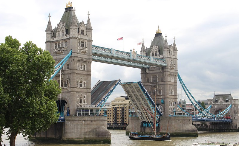 Tower Bridge during a bridge lift, London