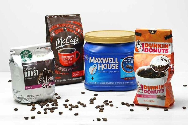 Coffee beans from Starbucks, McCafe, Maxwell House, and Dunkin Donuts