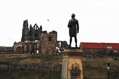 Captain Cook surveys Whitby Abbey and St Mary's Church