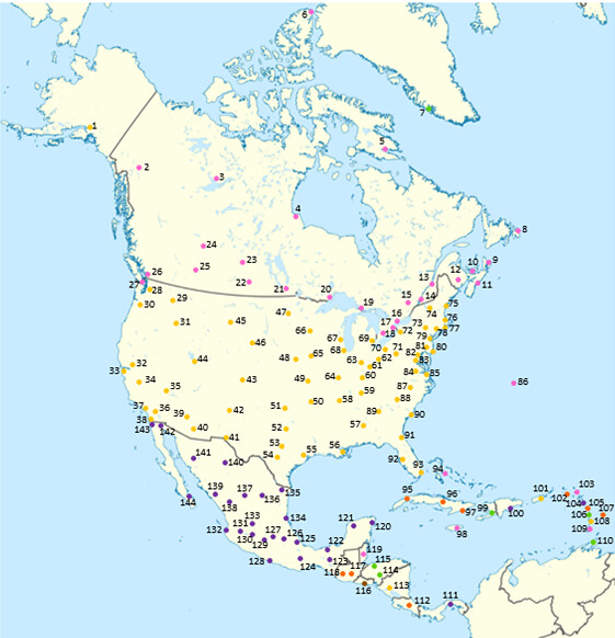Cities Of America Map.Dots On Map 144 North American Cities Quiz By Purplebackpack89