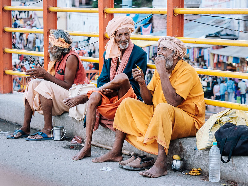Old men at Har Ki Pauri, Haridwar, India