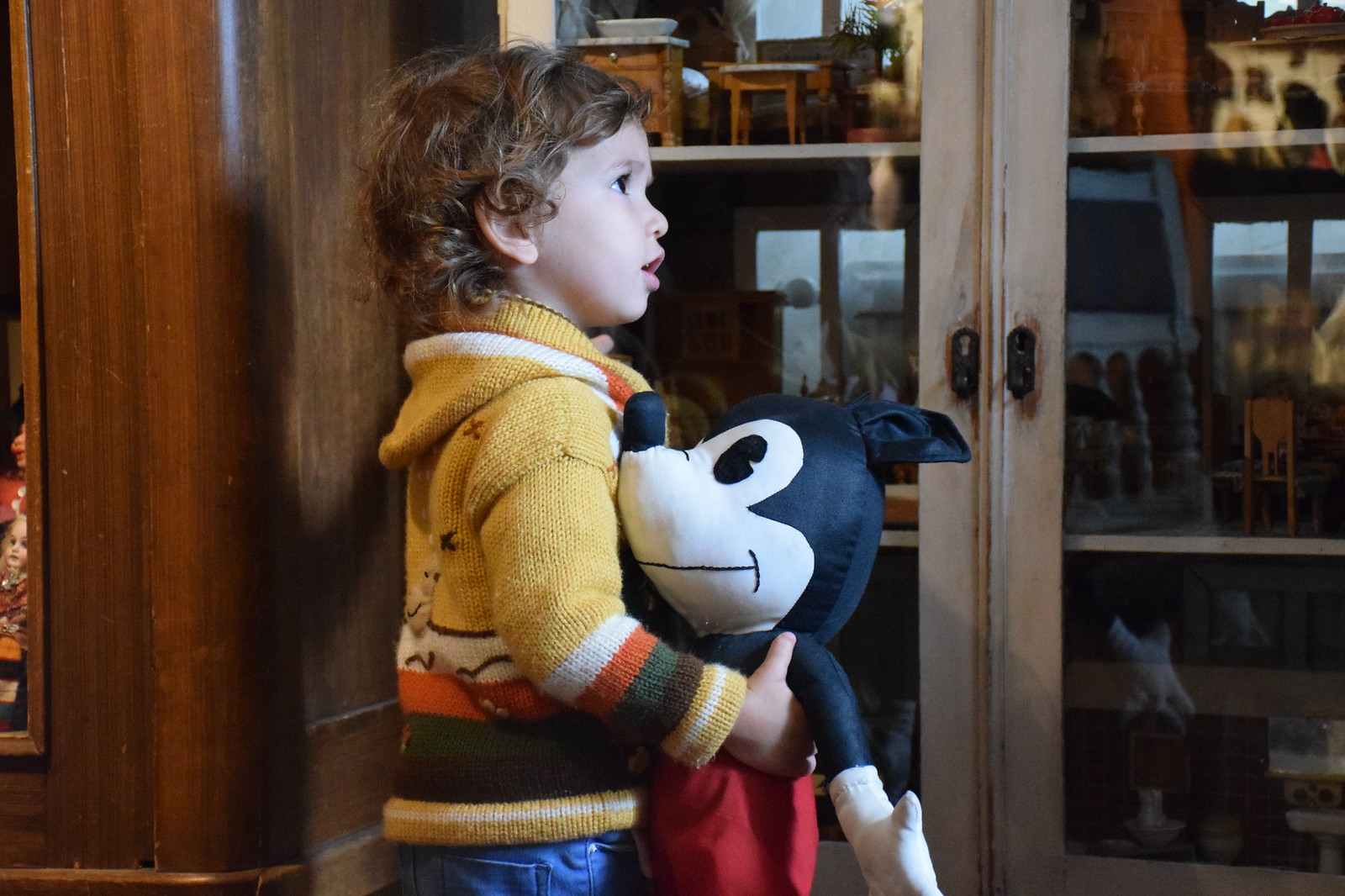 With and old fashioned Mickey Mouse at the toy museum