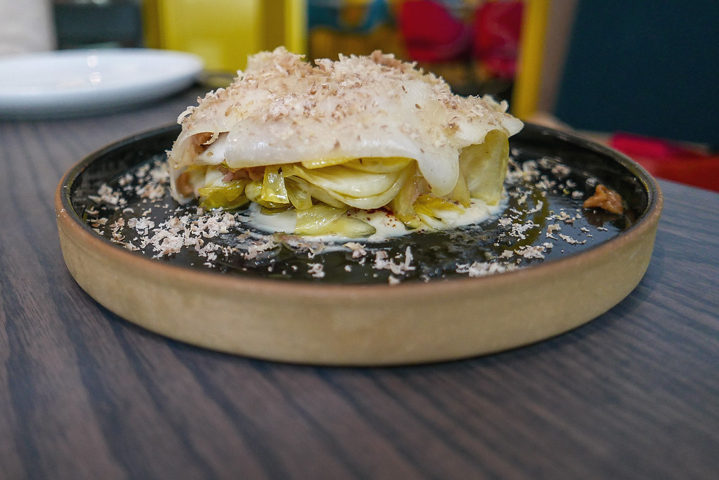 Pear and Kohlrabi, Endive, Chestnut, White Sesame ($14)