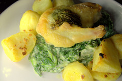 Chicken Supreme with Garlic & Herb Butter, Roast Potatoes in Duck Fat, Creamed Spinach
