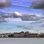 Scenic sky over Preston Docks