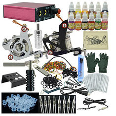 OPHIR Complete Tattoo Kit 2 Gun Machine 12 Colors Power Supply (948221) #Banggood