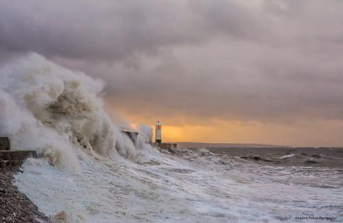 cloudsstormssunsetssunrises storm cloud sunrise waves lighthouse stormbrian porthcawl sea seaside swell hightide springtide nikon tamron ocean water beach landscape wave