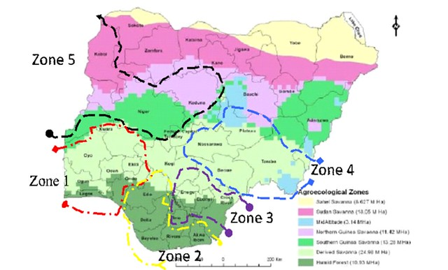 An agro-ecological map of Nigeria showing the 5 zones of the project from which 1 state was selected per zone. (Zone 1= Kwara State; Zone 2 =Rivers State; Zone 3 = Imo State, Zone 4 = Nasarawa State & Zone 5 = Kebbi State) (image credit: ACGG Nigeria)