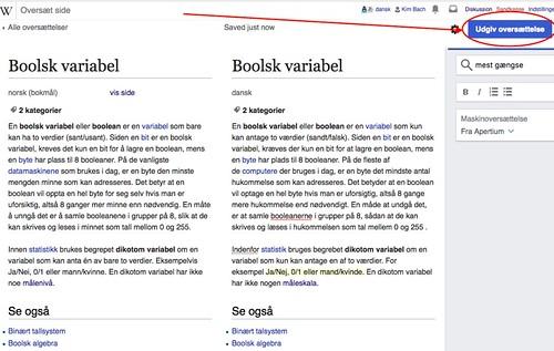 Norsk Wikipedia - Boolsk variabel - Oversettelse, Udgiv oversættelse
