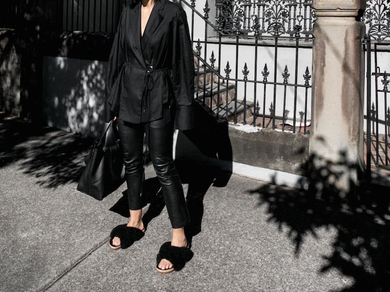 all black outfit minimal street style oversized shirt leather pants shearling slides fashion blogger michael lo sordo shirt bassike chloe kaity modern legacy Instagram  (5 of 7)