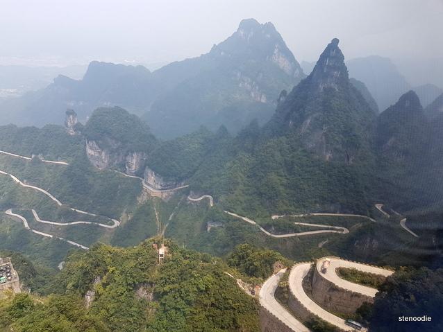 Tianmen Mountain curving roads
