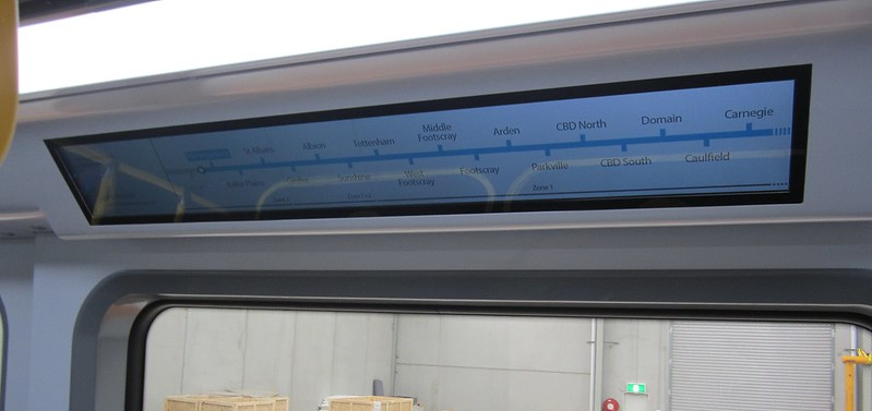 New train mock-up: Interior dynamic route map