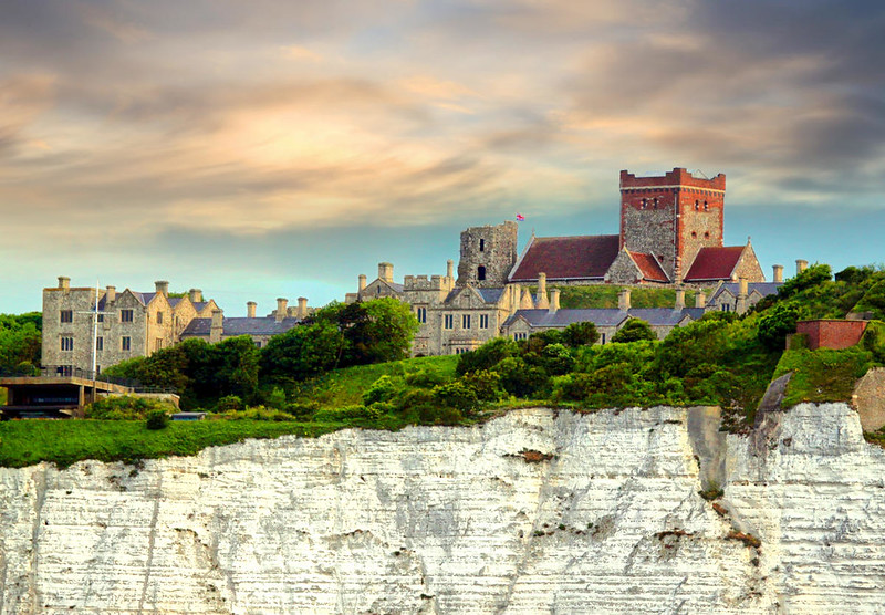 St Mary in Castro Chruch and Dover Castle ramparts above the white cliffs of Dover