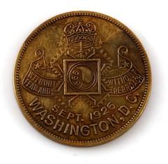 1926 KKK washington DC March token reverse