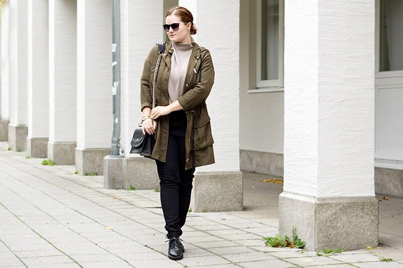 Outfit: Grüner Parka