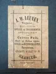 label of A.W. Leuven gilder and frame maker