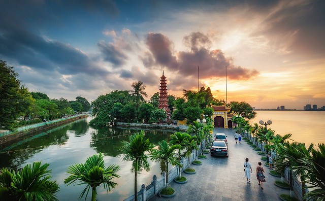 View of Tran Quoc pagoda, the oldest temple in Hanoi, Vietnam