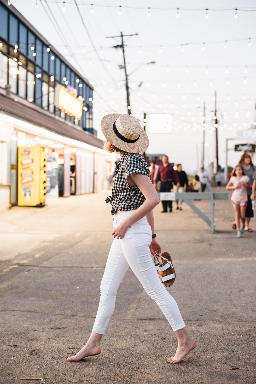 Gingham Shirt, White Jeans, and Straw Boater Hat on juliettelaura.blogspot.com