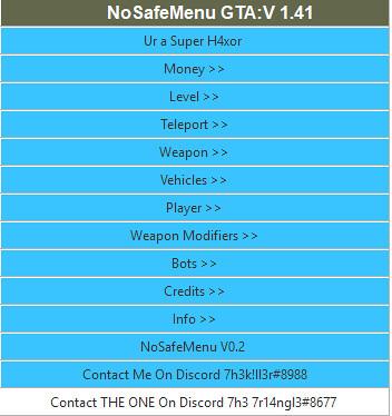 GTA ONLINE 1.41 NOSAFEMENU + 7R14NGL3 + 7H3K!LL3R