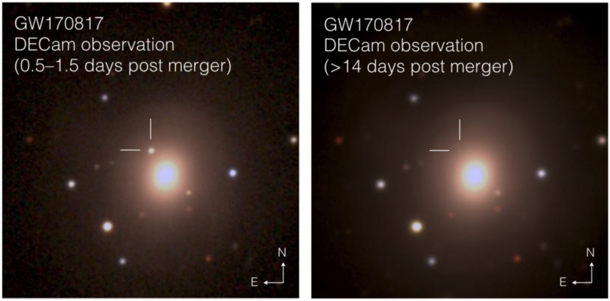 Composite images of the optical counterpart to GW170817.  /Credit: Soares-Santos et al. and DES Collaboration,