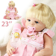 23inch Pink Girl Dressing Toy Gold Hair Play House Baby Dolls (1139425) #Banggood