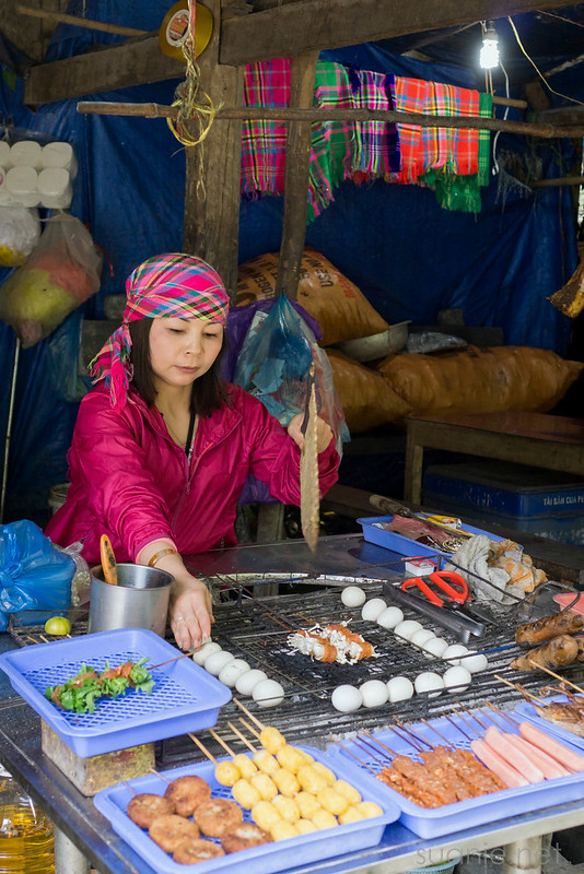 Sapa, Cat Cat Village - grilling meats