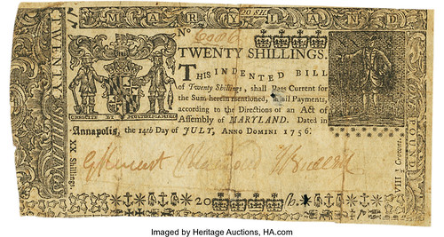 Maryland July 14, 1756 20 Shillings front