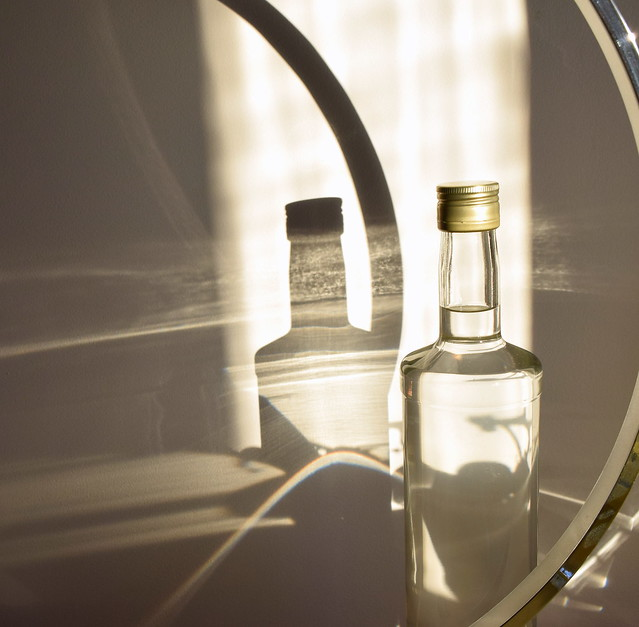 Not booze, but sunlight, glass and shadows:-)