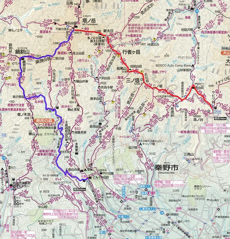 塔ノ岳表尾根地図