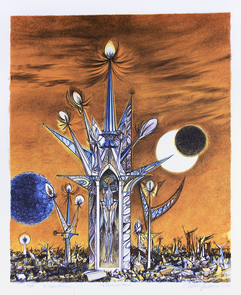 Joseph Mugnaini - A Tower on Mars - from  the portfolio Ten Views of the Moon, authored by Ray Bradbury,  1981