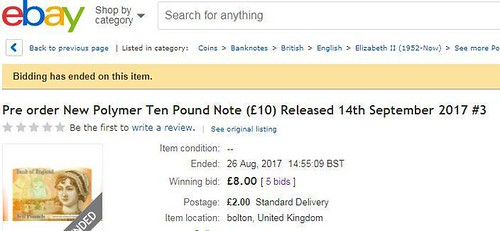 eBay £10 polymernote auction