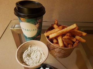 Fries from GyG with Vegan Aioli, Matcha from CocoBliss